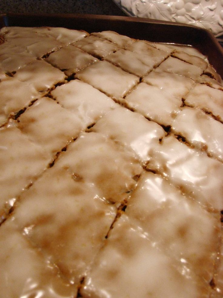 Lebkuchen! aka honey cake.  Mom made this every christmas.  She frosted it differently, but cut it in diamonds, just like the picture.