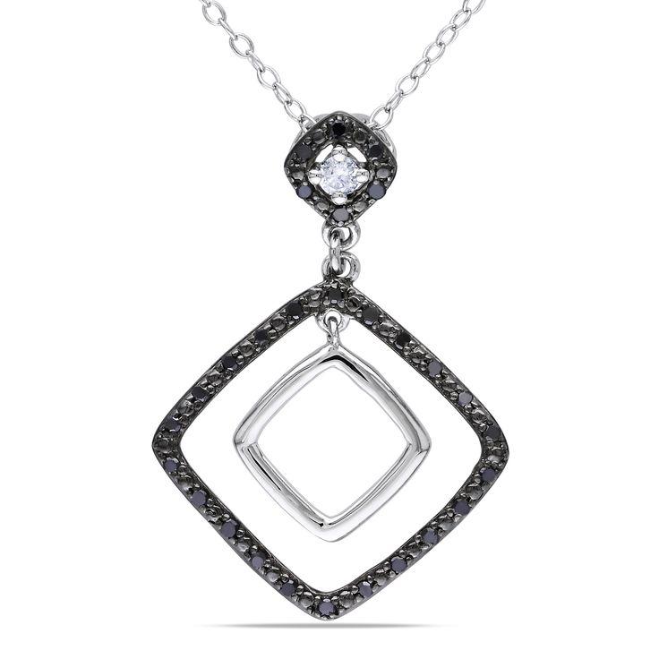 Miadora Sterling Silver 1/5ct TDW Black and White Diamond Necklace, Women's