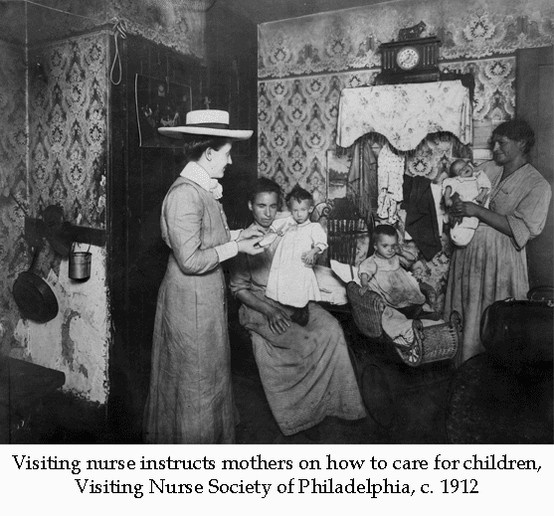 Visiting nurse instructs mothers on how to care for children. Visiting Nurse Society of Philadelphia, c. 1912. Image courtesy of the Barbara Bates Center for the Study of the History of Nursing.