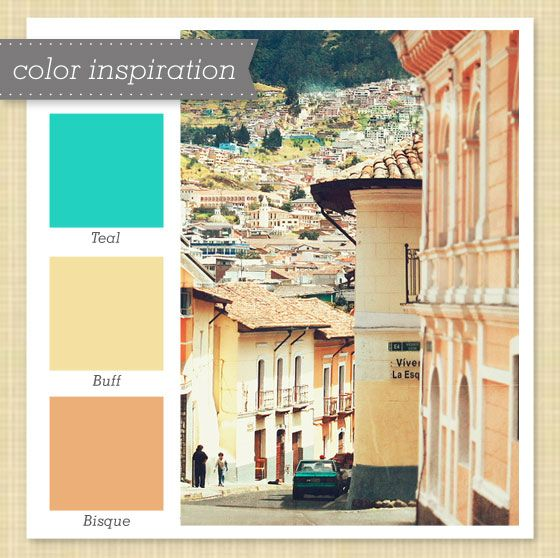 Teal and Muted Yellow and Orange Color Palette by Sarah Hearts