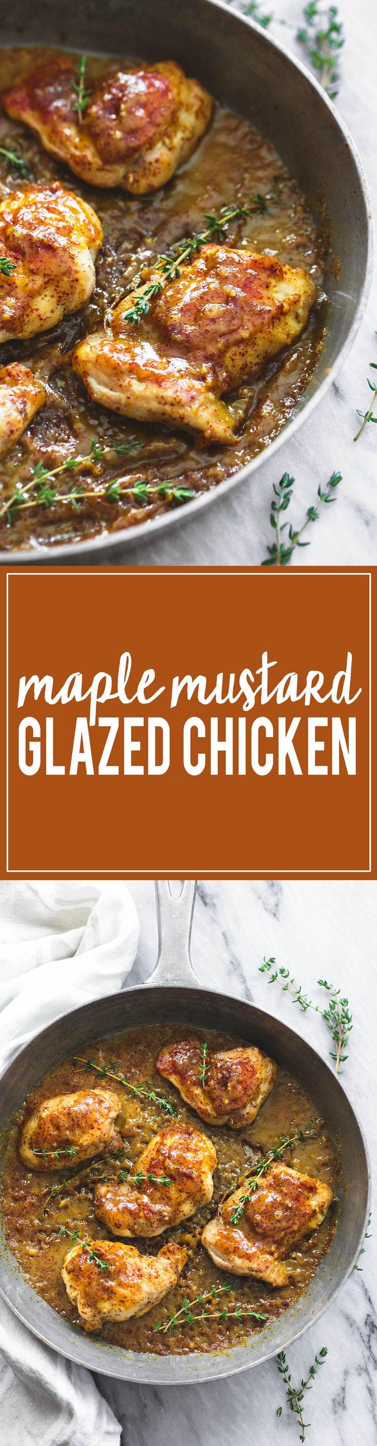 One Pan Maple Mustard Glazed Chicken | lecremedelacrumb.com