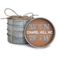 Longitude and Lattitude Chapel Hill, NC Mason Jar Lid Coaster Stack                                                                                                                                                                                 More