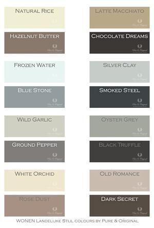 Bekijk de foto van Pure & Original met als titel Mooie warme tinten. per 4 perfect te combineren, maar natuurlijk ook met andere tinten. deze kleuren zijn er in de kalkverf, krijtverf en matte lak. en andere inspirerende plaatjes op Welke.nl.