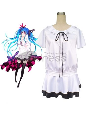Vocaloid fans are going to recognize this dapper costume as belonging to their beloved character Hatsune Miku. It features a dress with a peasant style top with batwing sleeves, ruffled collar and black bow embellishment. The two tier mini-skirt is sewn in a contrasting color scheme and has a ruffled shape that spins and twirls when you do. A darling coordinating hair bow is included with the outfit.