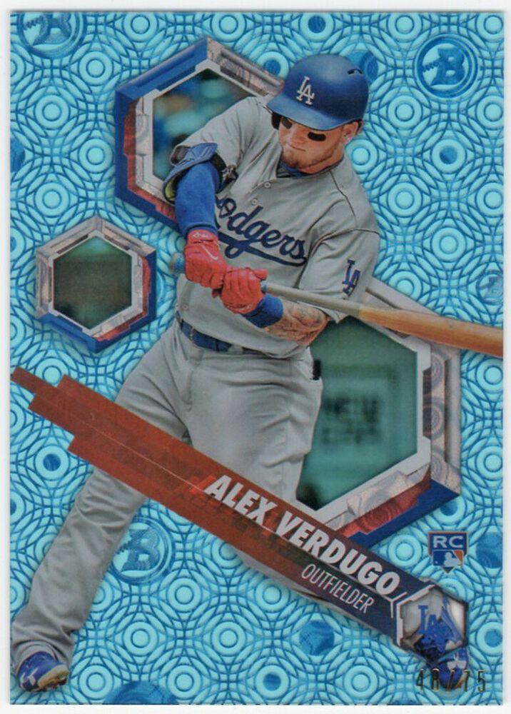 Alex Verdugo 2018 Bowman High Tek Rc Ocean Blue Tidal Parallel 75 Free Ship Losangelesdodgers Baseball Art Baseball Live Autograph Jersey