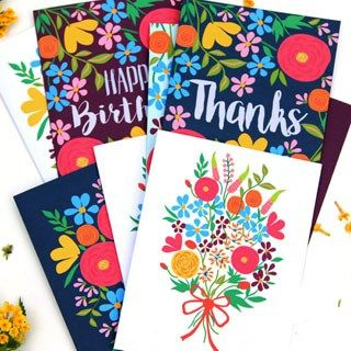 A set of 36 glorious floral printable greeting cards - free templates to download and make your own beautiful Birthday, Thank-you and blank greeting cards!