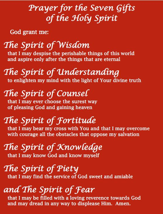 7 Gifts of the holy spirit. Let us be filled with these good gifts!