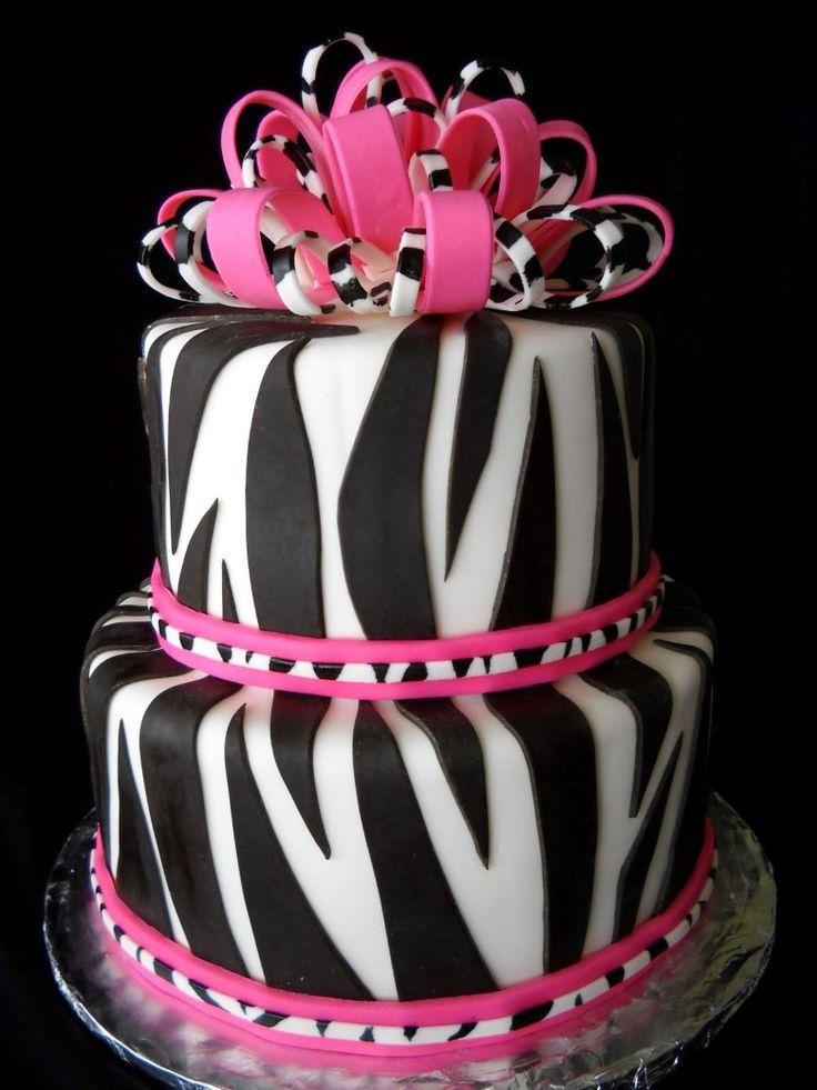 Create The Wavy Black And White Layers Of A Zebra Cake By Alternately Spooning Vanilla And Pink Zebra Cakeszebra Birthday