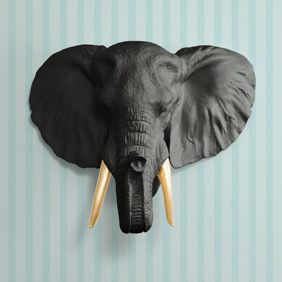 the savannah in black gold tusk faux elephant head fauxidermy ceramic fake taxidermy. Black Bedroom Furniture Sets. Home Design Ideas