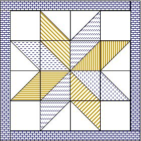 """Big Star Quilt - just 28 pieces plus the border. Finishes at 42"""" square. We had such fun making these at one of our Project Linus blanket days -- and some people created other designs from the same triangles & squares."""