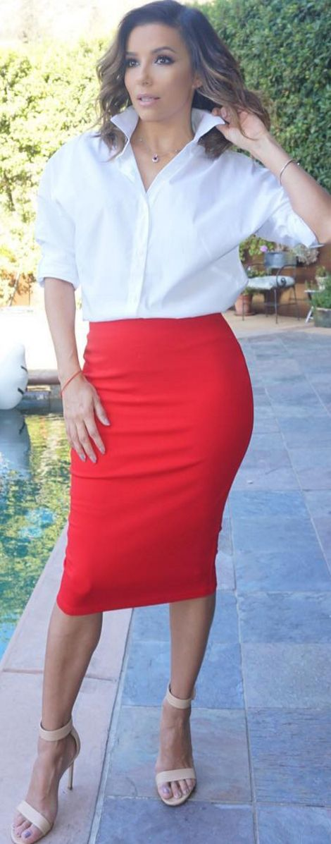 Who made  Eva Longoria's white collar top, red skirt, and tan sandals?