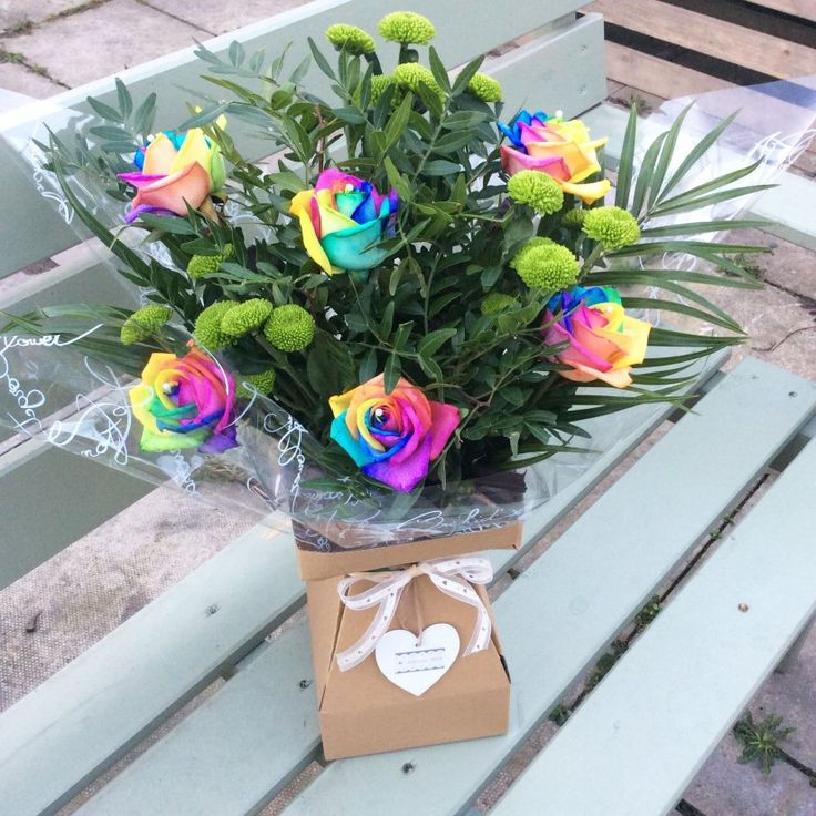 Mixed Rainbow Rose Bouquet
