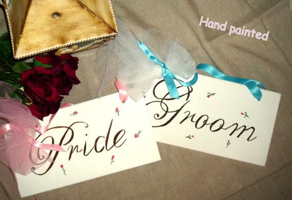 White Pride and Groom signs-Wedding signage-Hand painted signs-