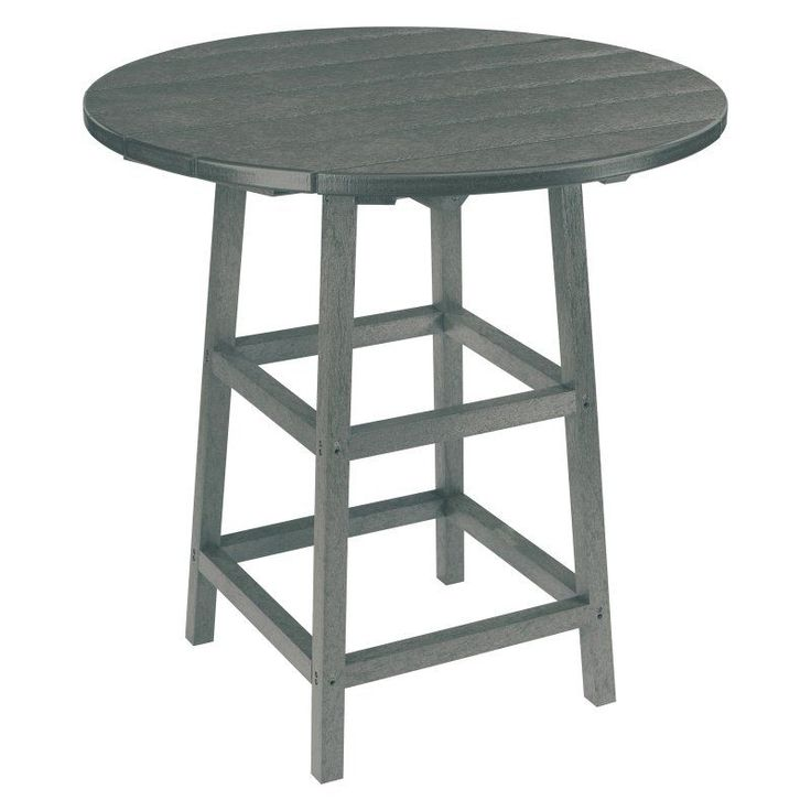 Outdoor CR Plastic Generations 32 in. Round Pub Height Table Slate Gray - TBT03-18