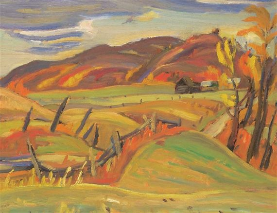 Ralph Wallace Burton - Fall Country Side Barns in the Fall 10.5 x 13.5 Oil on board