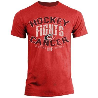 Old Time Hockey Carolina Hurricanes Hockey Fights Cancer Bromley T-Shirt - Red