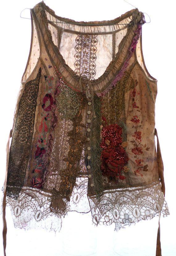 Pastorale  unique shabby chic bodice textile by FleurBonheur, $224.00