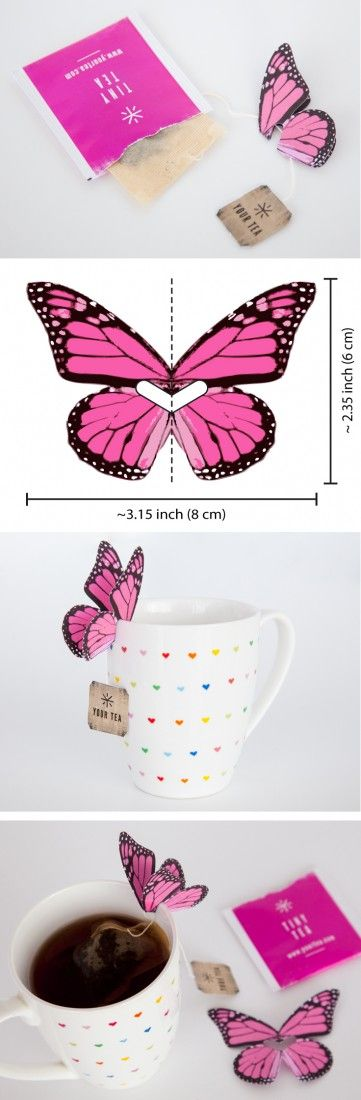 DIY paper butterfly tea bag holder – perfect décor for a garden party or bridal shower, or to pretty up a cup of Your Tea Tiny Tea. ==