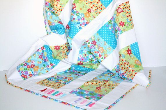 Personalized Patchwork Baby Girl Quilt by LittleCottonShop on Etsy