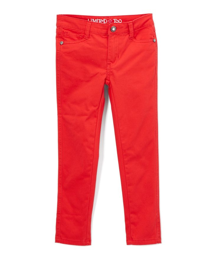 Engine Red Sateen Twill Skinny Pants - Toddler & Girls