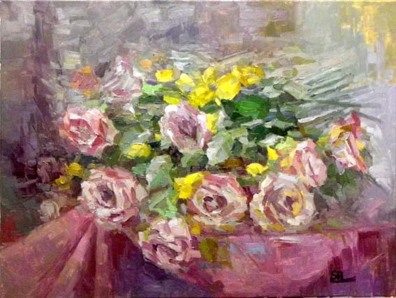 pink rosen  60x80 oil on canvas
