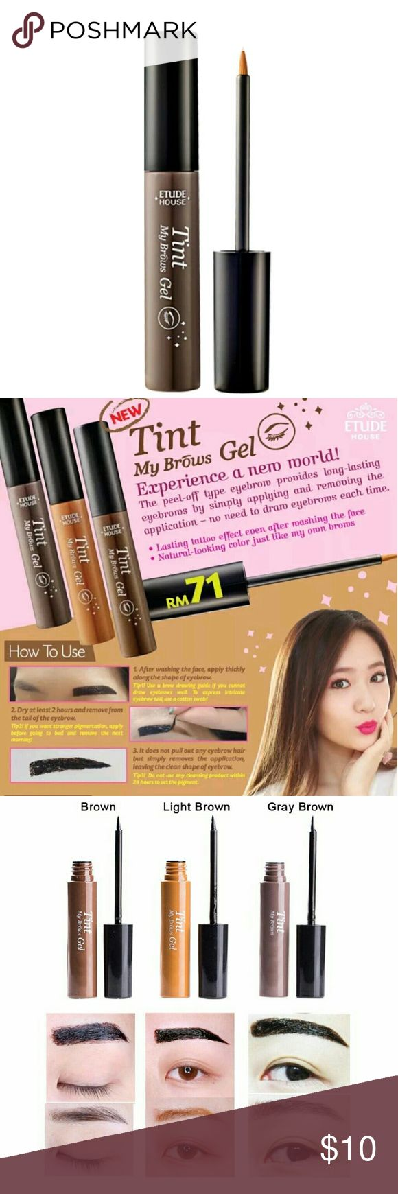 Tint My Brows Eyebrow Peel Off Gel Gray Brown New in box Eyebrow Gel Tint that makes eyebrow makeup last long after removing the tint. You apply the eyebrow gel to your eyebrow, let it set for at least 2 hours, peel off and look amazing! This is the latest beauty craze in Korea.  This listing is for 1 box of peel off eyebrow tint in Gray Brown #3. See photos for color swatch.  Great addition to your bundle! etude house Makeup Eyebrow Filler