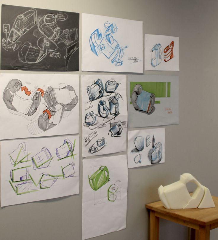 Mateusz Dolski (School of Form) kettle sketches and a foam model