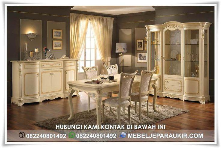 Set Meja Makan Mewah Ivory Klasik Ukiran – merupakan salah satu kebutuhan interior mewah yang bernuansa klasik dilengkapi ukiran mebel Jepara yang sangat detail dan halus kualitas standar exsport.