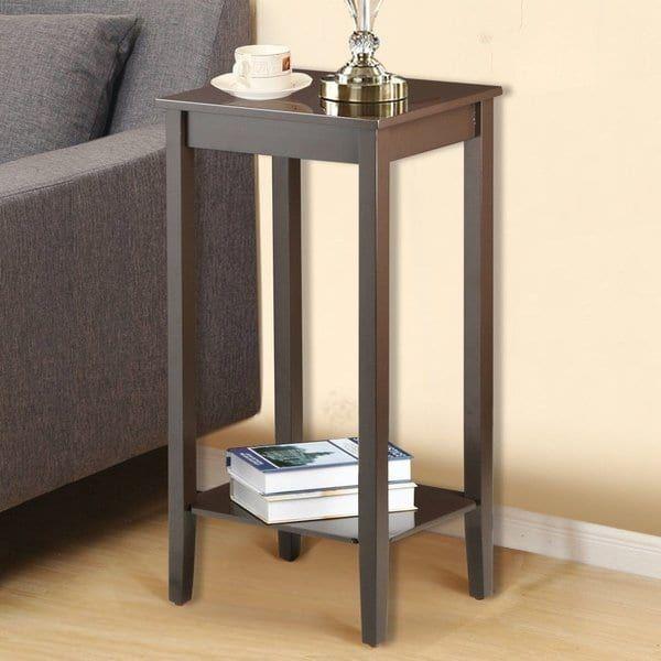 2 Tier Living Bedroom Wood Nightstand Tall Sofa Side End Table Tall Side Table Living Room Side Table Living Room Table