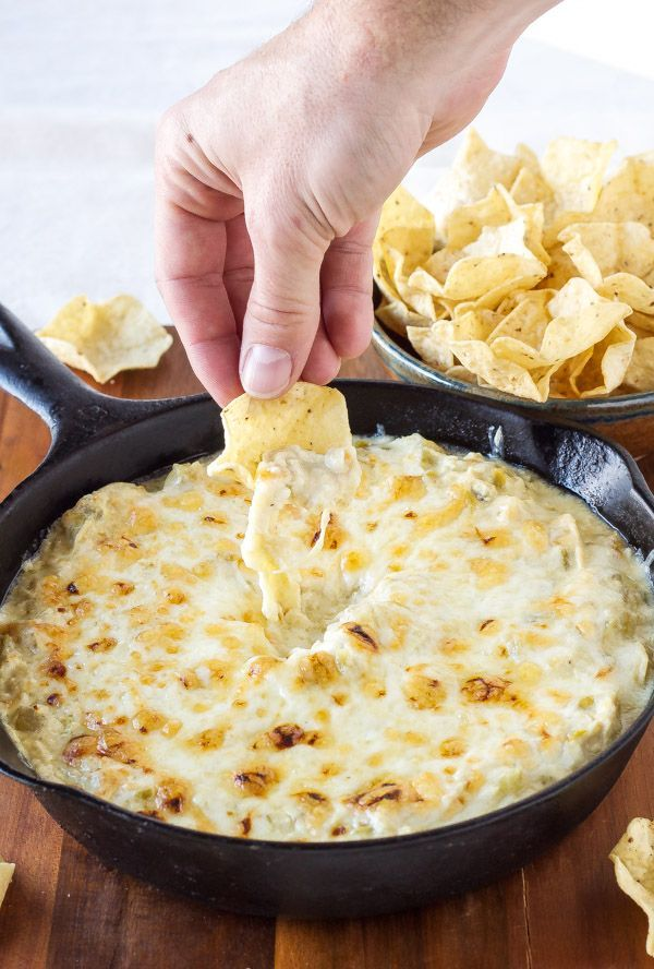 Warm, cheesy, green chile and enchilada dip with a fraction of the calories and fat compared to regular dip!