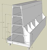 Wood storage cart: room for plywood, planks, trim, all on wheels for easy access.