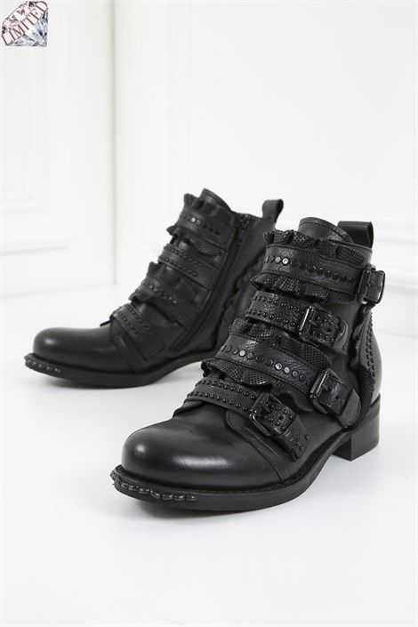 Fausto Bayan Bot Siyah Deri Ilvi Bot Siyah Deri Bayan Ayakkabi