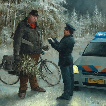 Christmas Postcard, Marius van Dokkum ~ Dutch artist/illustrator