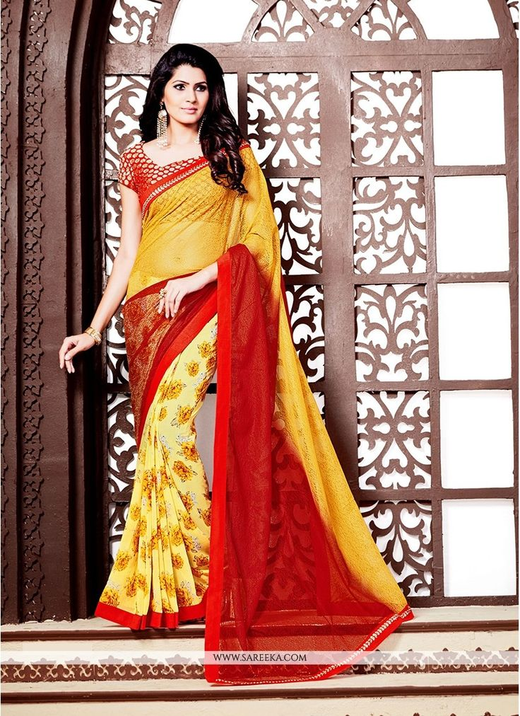 Design and style and trend could be on the peak of your elegance after you dresses this red and yellow georgette and net printed saree. This dress is showing some really mesmerizing and creative patte...