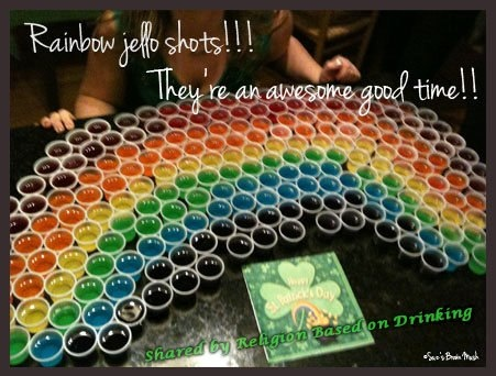 Rainbow Jello Shots for St. Patrick's day!