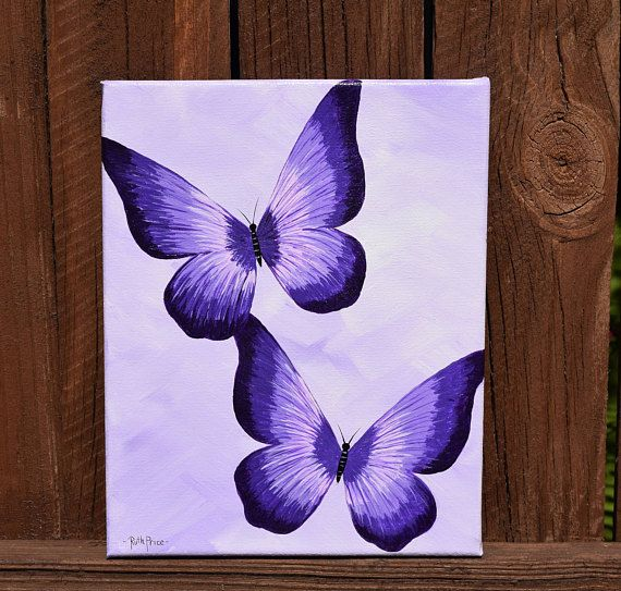Unique Purple Butterflies Handpainted On 8x10 Canvas Etsy Butterfly Art Painting Purple Painting Canvas Drawing