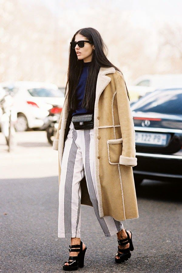 fashion trend - ways to wear - vertical stripes outfits - street style - striped culottes shearling coat outfit