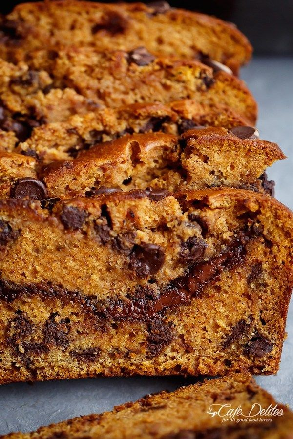 Nutella Chocolate Chip Pumpkin Bread is filled with fall flavors and delicious chocolate chips. The Nutella swirl makes it AMAZING!