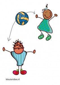 Bewegingskaart bal voor kleuters, bal overgooien in tweetallen, kleuteridee.nl, free printable moving cards for preschool