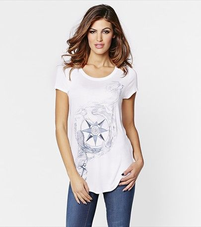 Graphic content! This tee features a cool mermaid graphic! Pair it with jeans and a fun blazer.