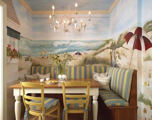 Coastal Decor | Beach Decor | Nautical Decor | Seashell Decor: Rate This Room: Beach Wall Mural