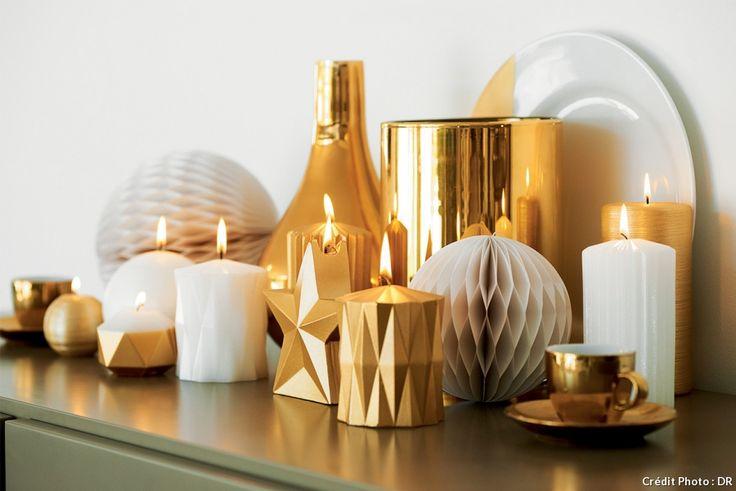 Sortez les bougies or ou gold pour un côté festif. Ambiance de fêtes pour la Sainte-Lucie ou pour Noël.