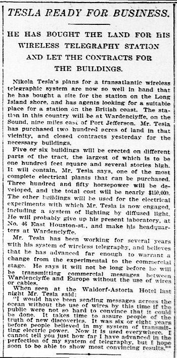 """1901: """"Tesla ready for business"""" en plena construccion de la torre de Wardenclyffe"""