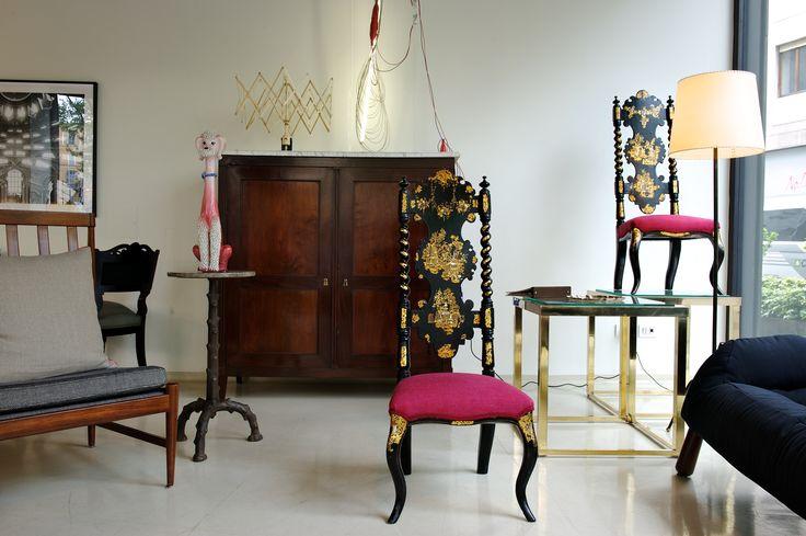 #armchair #pink #gold #black