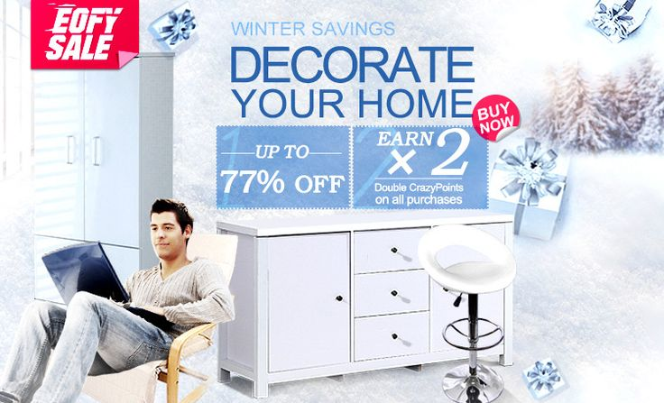 Winter savings: decorate your home at super-low prices. 1. Up to 77% off. 2. Earn double crazy points. (100 crazy points equal to 1 dollar)