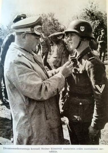 lottalunkreeni:  General Steiner gives Iron Cross II Class to a finnish SS volunteer.  Source: Jukka Tyrkkö: Suomalaisia suursodassa: SS-vapaaehtoisten vaiheita jääkäreiden jäljillä 1941-43