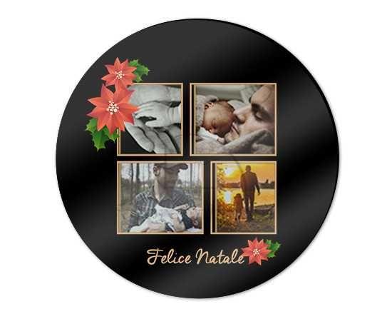 Tagliere rotondo in vetro Black christmas