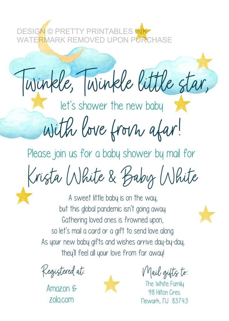 Baby Registry Message To Family And Friends : registry, message, family, friends, Shower, Invitation, Printable,, Distance, Invitation,, Virtual, Invite,, Twinkle, Invite, Shower,, Printable, Invitations,