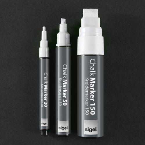 Sigel GL178 Lot de 2 marqueurs à craie liquide 20, pointe ogive de 1 – 2 mm, blancs: Tweet : craie marqueurs Kuretake ensemble, tour Astuce…