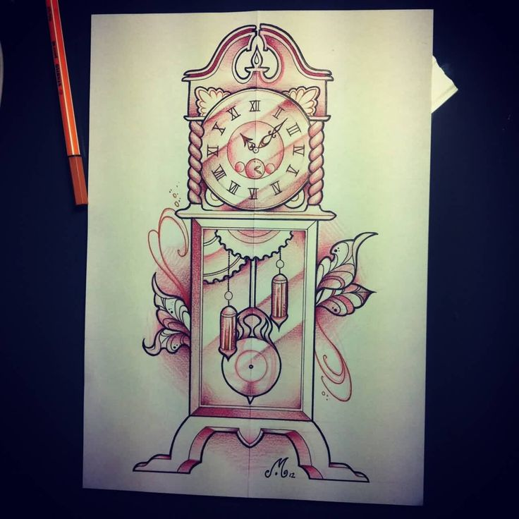 boxer and grandfather clock tattoos drawing photo 2
